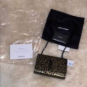 NWT Yves Saint Laurent Kate Glitter Leopard bag